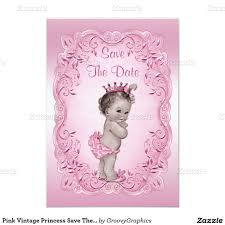 Princess Themed Birthday Invitation Cards Pink Vintage Princess Save The Date Baby Shower Card Baby Shower