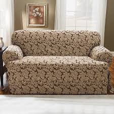 Sure Fit T Cushion Sofa Cover Sure Fit Scroll Brown T Cushion Loveseat Slipcover Walmart Com