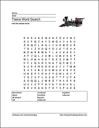 trains word search crossword puzzle and more