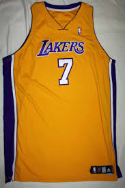 lot detail 2006 07 lamar odom game worn l a lakers jersey grey