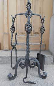 hand forged fireplace tools set wrought iron handmade 4 pieces