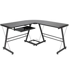 glass top l table best choice products l shape computer desk workstation w tempered