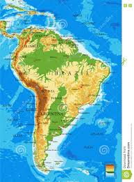 south america physical map stock vector image 71978130