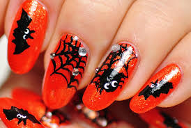 nail art halloween design web spider bat youtube