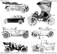 black convertible cars clipart retro black and white vintage convertible cars royalty