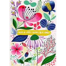 floral very happy birthday card gc1818