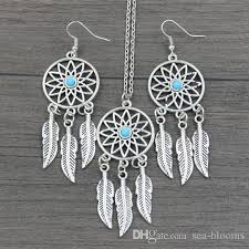 turquoise necklace earring set images Wholesale antique silver turquoise feather dreamcatcher pendant jpg