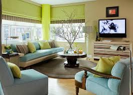Blue Green And Brown Living Room Interesting Combination Of - Green living room design