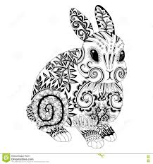 high detail patterned rabbit in zentangle style stock vector
