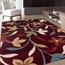 Modern Style Area Rugs Modern Contemporary Leaves Design Burgundy Area Rug 5 3 X 7 3