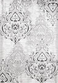 White And Gray Area Rug Kalora Platinum Venetian Silver Damask Area Rug U0026 Reviews