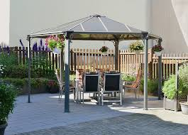 amazon com palram monaco hexagon gazebo 15 x 13 gray patio