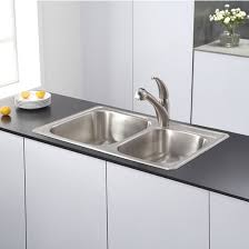 Kitchen Sink Set by Kraus 33 U0027 U0027 Topmount 60 40 Double Bowl 18 Gauge Stainless Steel