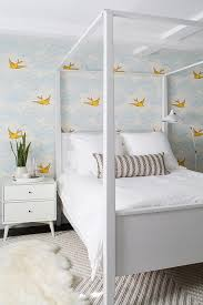 West Elm Chevron Rug White Canopy Bed With Yellow And Blue Wallpaper Transitional