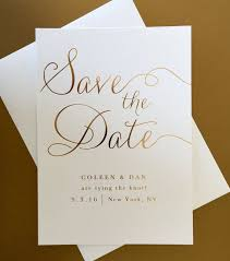wedding save the date gold foil wedding save the date modern classic and