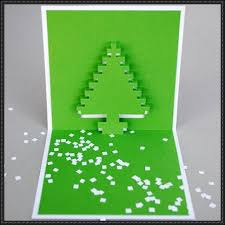 christmas pixel pop up card papercraft series template and tutorial
