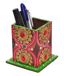 Big Bazaar Home Decor by Multicolor Wooden Paper Mashe Pen Stand Pen Holder Wooden