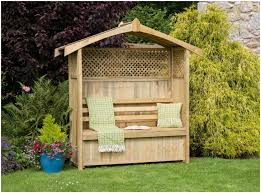 Backyard Arbors Backyards Charming Garden Arbor Bench Idea With Partial Lattice
