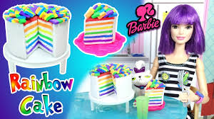 how to make rainbow cake for barbie doll diy easy doll crafts