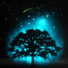 glow in the dark star ceiling mural the southern cross starry night sky painting glow in dark oak tree and shooting star