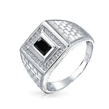 mens engagement ring bling jewelry 925 silver brick pattern black cz rectangle mens