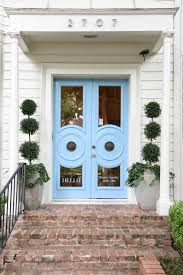 blue print blue front doors boxwoods dallas home store