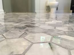 hexagon carrara marble tile floor for your bathroom what to know