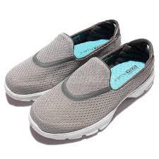 skechers go walk 3 iii grey white women casual shoes slip on
