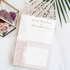 blush pink and gold and lace pocket wedding invitations