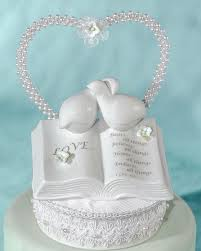 dove cake topper verse bible with doves and flower accents wedding cake topper