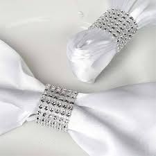 napkin ring ideas diamond rhinestone napkin ring with velcro set of 10 silver