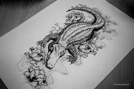 alligator tattoo sketch on behance