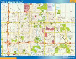 Map Southwest Usa by Fargo Downtown Map Netmaps Usa Wall Maps Shop Online