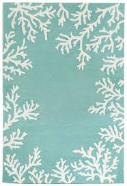 Coral Outdoor Rug by Coral Bordered Aqua Area Rug Coastal Colors Aqua And Coral