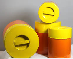 vintage retro kitchen canisters vintage retro mid century orange and yellow kitchen canisters