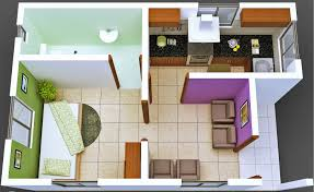 architecture small plan house design with one bedroom and kitchen