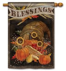 thanksgiving house flags cornucopia blessings house flag thanksgiving breezeart flags