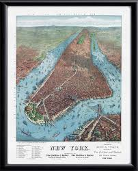 Nyc City Map New York City Ny 1879 Vintage City Maps Restored City Maps