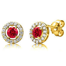 byjoy jewellery byjoy women s 925 sterling silver gold plated halo ruby stud