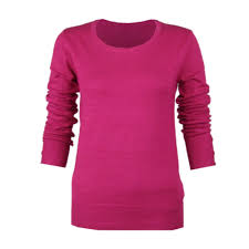 fuschia fuschia pink round crew neck long sleeve smart jumper top