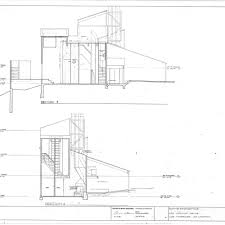 calisphere section drawing showing staircase tower and chimney
