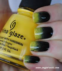 yellow black gradient nails by joyful nails the beauty of nail