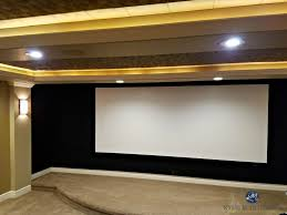 home theatre room screen with black acoustic fabric beige carpet
