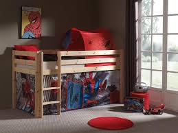 lit enfant ludique lit enfant surélevé pin massif coloris naturel spiderman lit