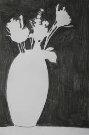flower in vase drawing drawing plants and flowers project u2013 negative space in a plant