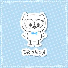 Owl Baby Shower Boy - vector hand drawn baby owl baby shower card template it u0027s a