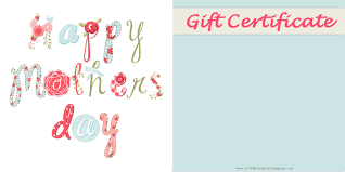 mother day gift certificate templates printable mothers day gift idea customize