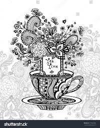 zendoodle cup tea flowers black on stock vector 377643988