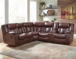 Best Reclining Sofas by Benchcraft Amaroo Brown Leather Match 2 Piece Reclining Sectional
