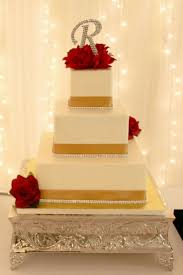 red white and gold wedding cake homemade party decoration